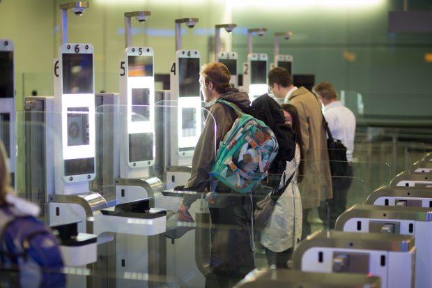 Passengers passing through e-gates