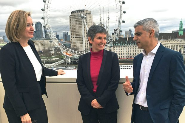 Home Secretary Amber Rudd, next Met Police Commissioner Cressida Dick and Mayor of London Sadiq Khan