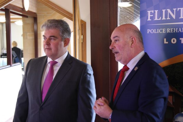 Policing Minister Brandon Lewis and Tom McAuslin