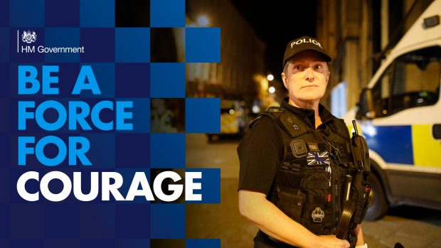 A picture of a police officer with the caption 'Be a force for courage'.